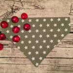 Hundehalstuchhelles olivgrün mit Sternen