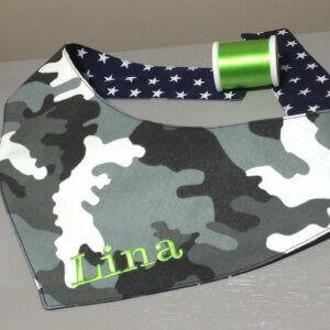 Hundehalstuch Camouflage – Tarnfarben – grau schwarz weiß