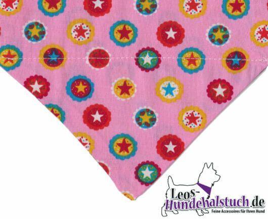 Hundehalstuch Candy Colors für verspielte Hundemädchen – bunte Sterne auf Rosa