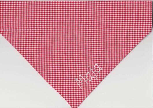 Hundehalstuch einfachschick: Minikaros rot weiß
