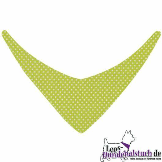 Hundehalstuch Frühlingsfrisches Grün mit weißen Punkten