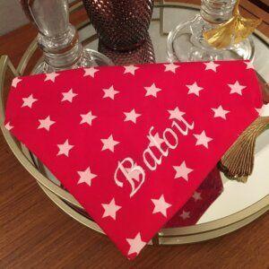 Hundehalstuch fürDeinen Leitstern – Weiße Sterne auf Rot