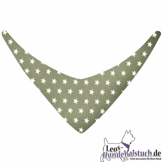 Hundehalstuch helles olivgrün mit Sternen