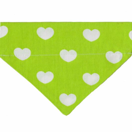Hundehalstuch Herziges Hundehalstuch in frischem Grün – Herzen auf Grün