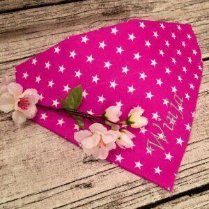 Hundehalstuch leuchtende Sterne auf Pink