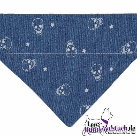 Hundehalstuch Piratentuch aus Jeans mit Totenköpfen