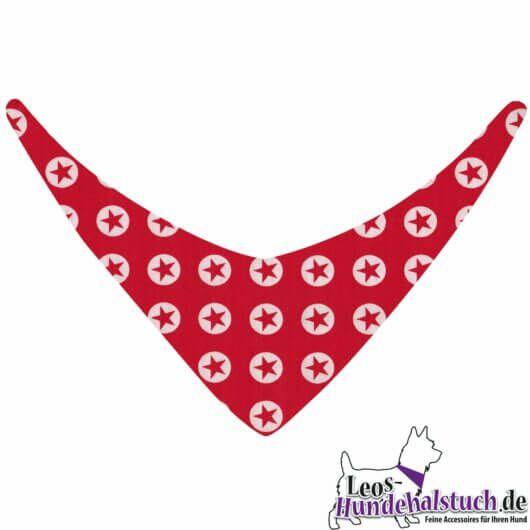 Hundehalstuch Sternsignal – rote Sterne in weißen Kreisen