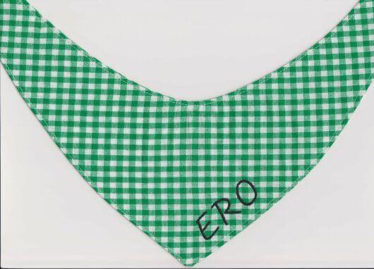 Hundehalstuch traditionelles Vichykaro in grün-weiß