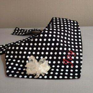 Hundehalstuch Vintage-Chic mit klassischen Punkten Weiß auf Schwarz